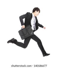 business man running on isolated white background, full length, asian model