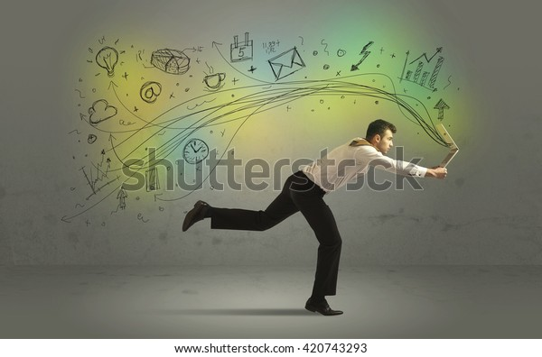 Business man in a rush with hand drawn doodle media icons and arrows concept on background