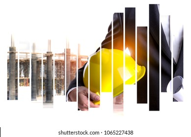 Business man with safety helmet and construction of the new building site steel structure is under construction on Abstract Backgorund