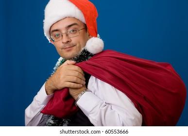 Business man as Santa. Christmas theme.