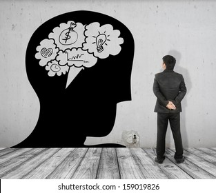 Business man see Concept picture of  Bubble talk brain in Head  on White Brick floor and Concrete wall