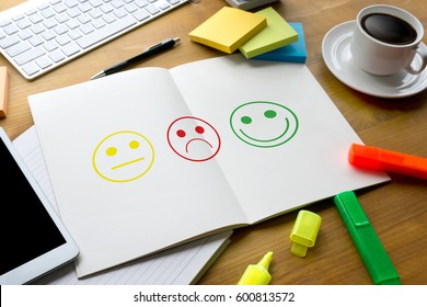 business man select happy on satisfaction evaluation? And good mood smiley