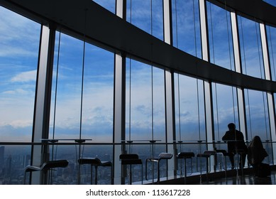 business man setting near the view window