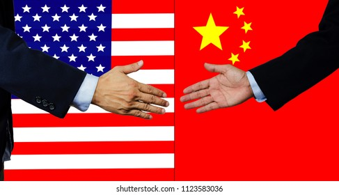 A business man shake each other hand, USA and China