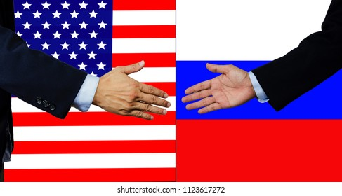 A business man shake each other hand, USA and Russia