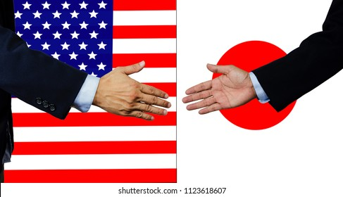 A business man shake each other hand, USA and JAPAN