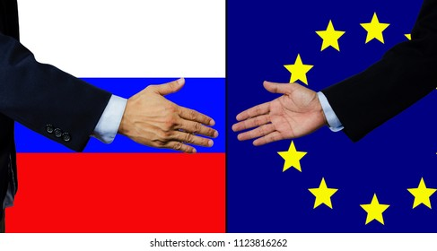 A business man shake each other hand, Russia and EU