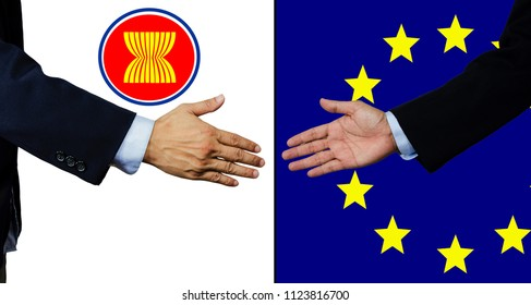 A business man shake each other hand, AEC and EU