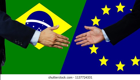 A business man shake each other hand, brasil and european union
