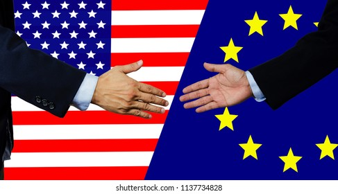 A business man shake each other hand, united state of america and european union