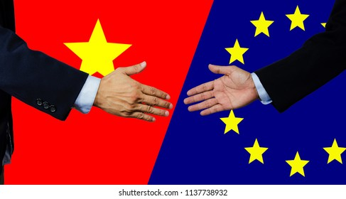 A business man shake each other hand, vietnam and european union