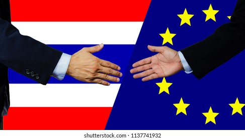 A business man shake each other hand, thaialnd and european union