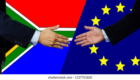 A business man shake each other hand,south africa and european union