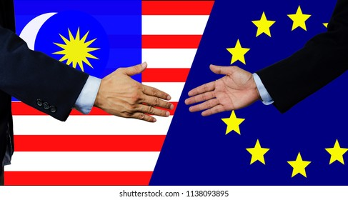 A business man shake each other hand, European Union and Malaysia