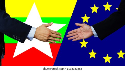 A business man shake each other hand, European Union and Myanmar