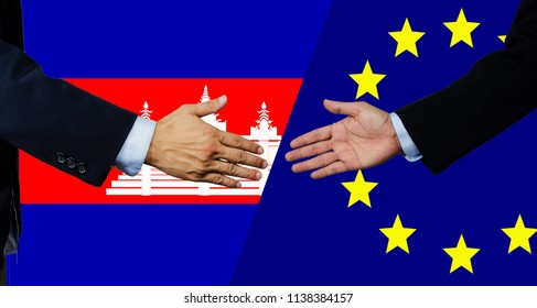 A business man shake each other hand, European Union and Cambodia