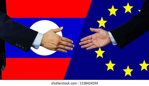 A business man shake each other hand, European Union and Lao