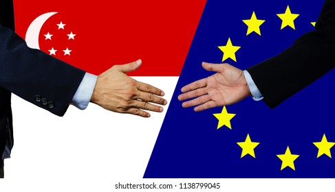 A business man shake each other hand, European Union and Singapore