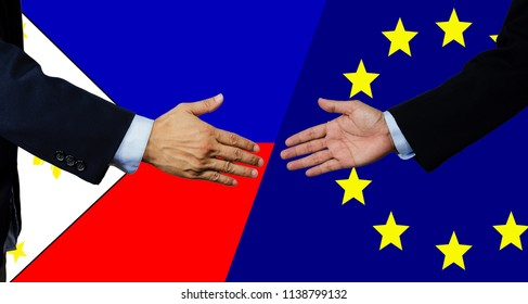 A business man shake each other hand, European Union and Philippine