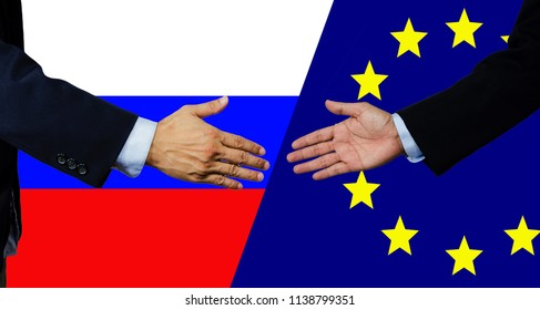 A business man shake each other hand, European Union and Russia
