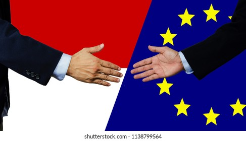 A business man shake each other hand, European Union and Indonesia