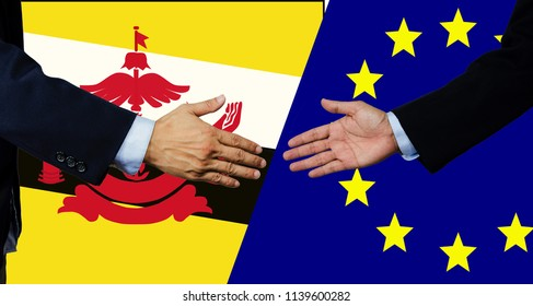 A business man shake each other hand, European Union and Brunei