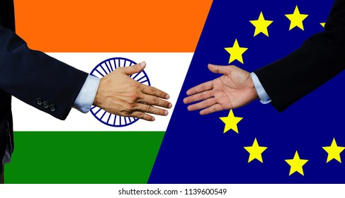 A business man shake each other hand, European Union and India