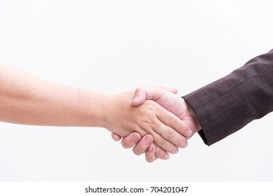 business man shake hand, sign to agree deal.
