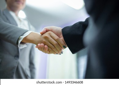 Business man shaking hands businesswoman partnership agreement. The concept of a joint business agreement.