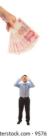 business man shouting out loudly to money in hand isolated on white background, model is a asian
