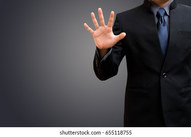Business man show hand and five signs.