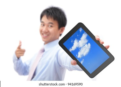 Business man show tablet pc with smile (tablet pc screen display sky and cloud), for cloud computing concept