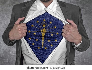 Business man show t-shirt flag of USA state Indiana rips open his shirt