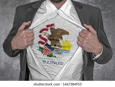 Business man show t-shirt flag of USA state Illiinois rips open his shirt