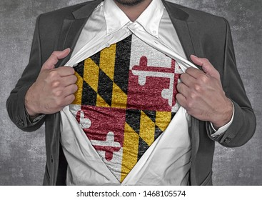 Business man show t-shirt flag of USA state Maryland rips open his shirt