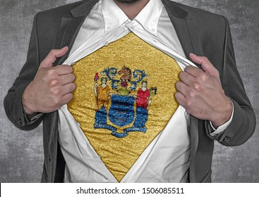 Business man show t-shirt flag of USA state New Jersey rips open his shirt