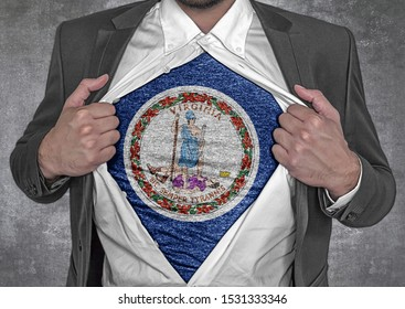 Business man show t-shirt flag of USA state Virginia rips open his shirt