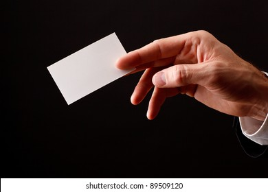 business man showing blank business card