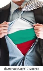 Business man showing Bulgaria flag shirt