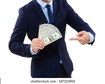 Business Man showing cash