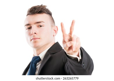 Business man showing peace or victory sign, gesture on white background