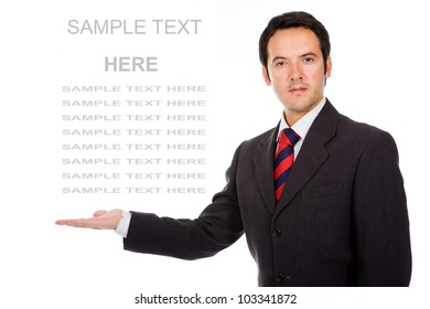 Business man showing and presenting copy space on white background