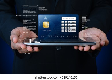 Business man showing smart card with smart phone