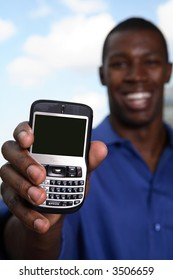 business man showing text phone