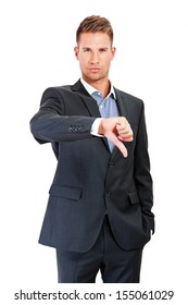 Business man showing a thumb down gesture