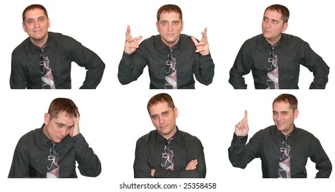 A business man is showing a variety of facial expressions and emotions ranging from angry to happy to curious.