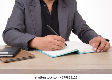 business man sign on table