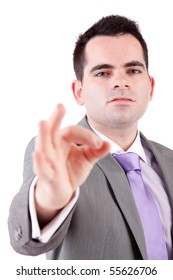 Business man signaling ok - isolated on white