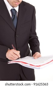 Business man signing document, isolated over white