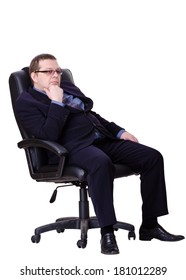 business man sits on office chair over white background